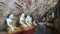 パ・アン、パアン、カウゴン洞窟、ブッダの彫刻、壁一面、