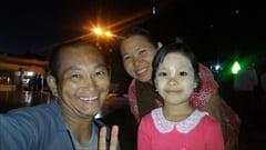 mawlamyine kyeik than lan pagoda、ミャンマーの親子、夜景、満月、かわいい